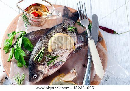Delicious Fresh Fish On White Background.