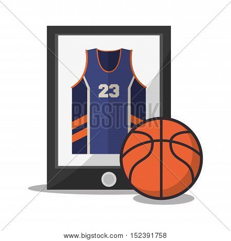 Ball tshirt and smartphone icon. Basketball sport hobby and competition theme. Colorful design. Vector illustration