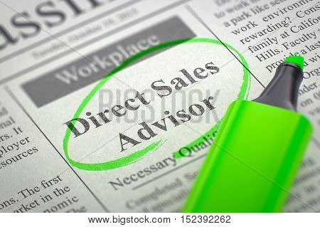 Direct Sales Advisor. Newspaper with the Small Ads of Job Search, Circled with a Green Marker. Blurred Image with Selective focus. Hiring Concept. 3D Rendering.