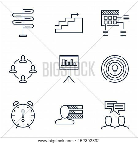 Set Of Project Management Icons On Collaboration, Opportunity And Discussion Topics. Editable Vector