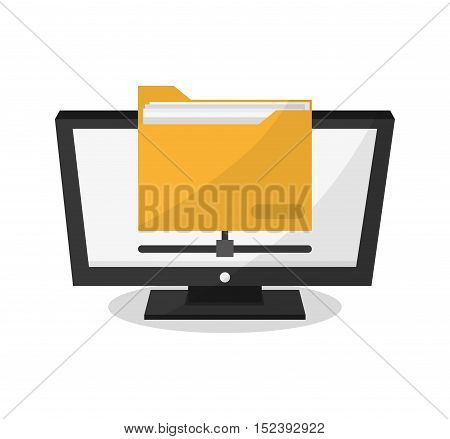 Computer and file icon. Social media marketing communication theme. Colorful design. Vector illustration