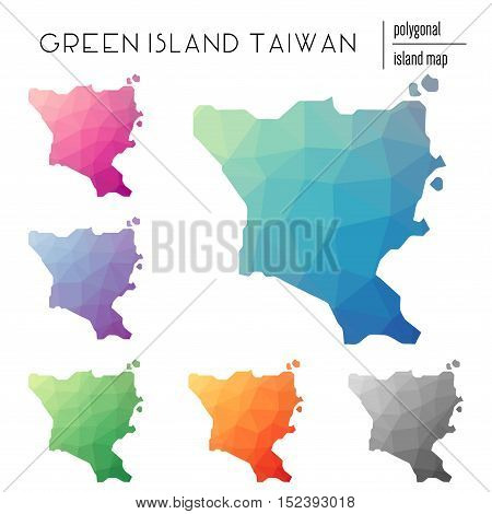 Set Of Vector Polygonal Green Island, Taiwan Maps Filled With Bright Gradient Of Low Poly Art. Multi