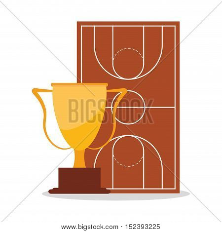 League and trophy icon. Basketball sport hobby and competition theme. Colorful design. Vector illustration