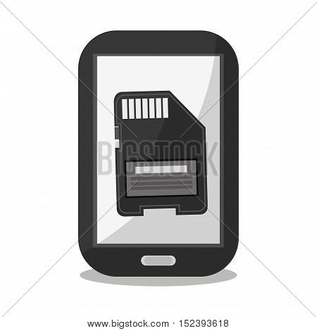 Smartphone and memory icon. Social media marketing communication theme. Colorful design. Vector illustration
