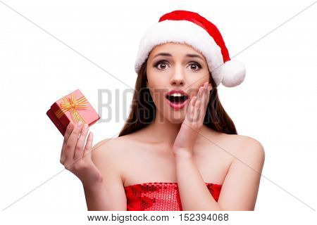 Young woman in snow girl costume in christmas concept