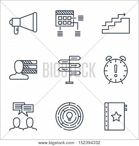 Set Of Project Management Icons On Time Management, Innovation And Opportunity Topics. Editable Vect