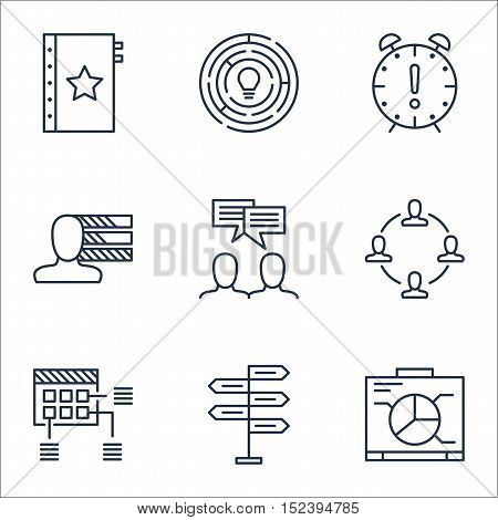 Set Of Project Management Icons On Opportunity, Discussion And Board Topics. Editable Vector Illustr