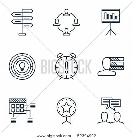 Set Of Project Management Icons On Schedule, Opportunity And Personal Skills Topics. Editable Vector