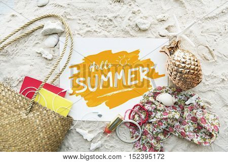 Hello Summer Beach Summer Holiday Vacation Relaxation Concept