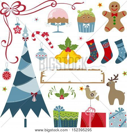 Vector Christmas elements - christmas tree, gifts, stockings, bells, candy cane, gingerbread man, cake, christmas ornaments, frame, stars, holly berry, bird and deer.