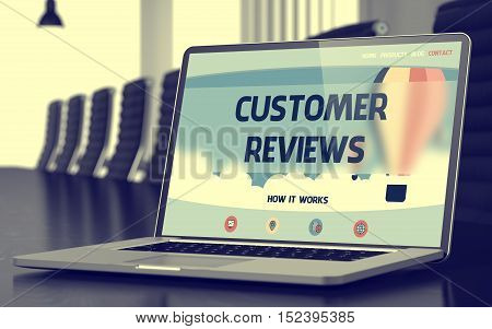 Customer Reviews Concept. Closeup Landing Page on Mobile Computer Display on Background of Conference Room in Modern Office. Blurred. Toned Image. 3D Render.