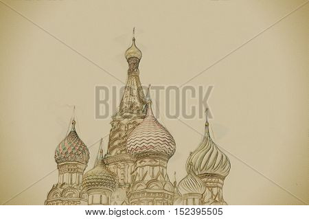 St. Basil Cathedral of the Protection of the Virgin on the Ditch Moscow. Vintage painting, background illustration, beautiful picture, travel texture