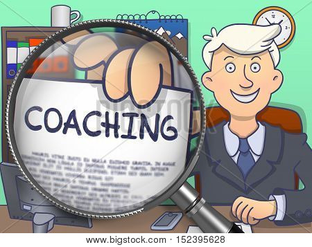 Business Man in Suit Looking at Camera and Holds Out a Paper with Inscription Coaching Concept through Magnifying Glass. Closeup View. Multicolor Modern Line Illustration in Doodle Style.