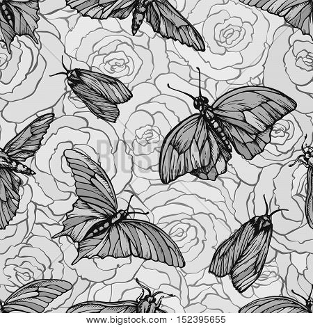 Vector seamless pattern with butterflies on roses. Stylish graphic texture. Monochrome repeating print.