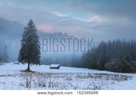 Bavarian countryside in winter sunrise in Germany