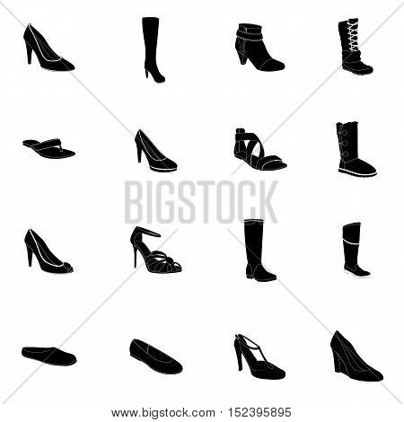 Footwear. Woman's footwear set, footwear silhouettes, white details. Names: ankle boot, ballerina, flip-flop, heel-strap sandals, footwear, plateau pumps, sandals, snow boots, thigh-boots, T-strap