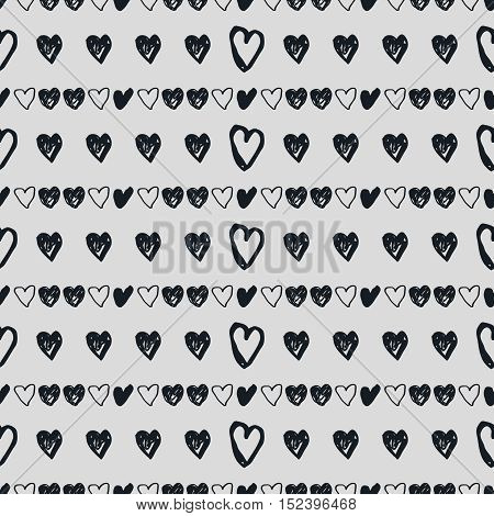 Hand drawn heart vector background. Seamless black and white valentines day pattern.
