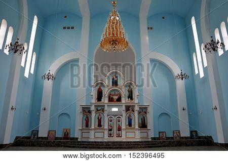 Grodno, Belarus - May 27, 2016: Modern Orthodox Church St. Seraphim of Sarov in the village Obukhovo, Grodno region, Belarus. Interior with the altar and icons.