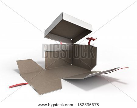 Open White Square Gift Box With Red Ribbon And Bow 3D Render