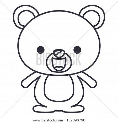 bear cartoon icon. Cute animal creature and little theme. Isolated design. Vector illustration