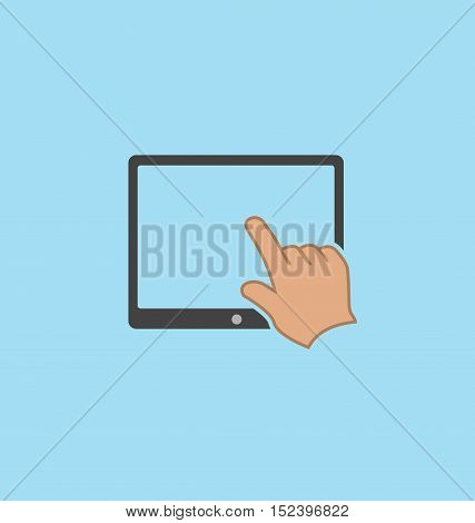 Finger touching tablet screen icon vector sign.