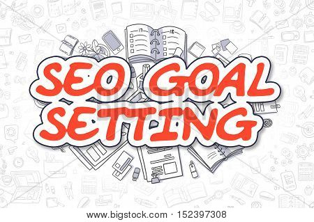 Cartoon Illustration of SEO Goal Setting, Surrounded by Stationery. Business Concept for Web Banners, Printed Materials.