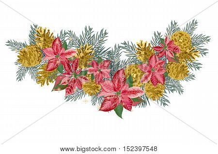 Vintage Christmas garland with golden pine cones and pink poinsettia isolated on white background. Vector illustration