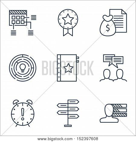 Set Of Project Management Icons On Personal Skills, Time Management And Discussion Topics. Editable