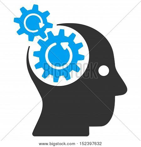 Brain Gears Rotation vector pictogram. Style is flat graphic bicolor symbol, blue and gray colors, white background.