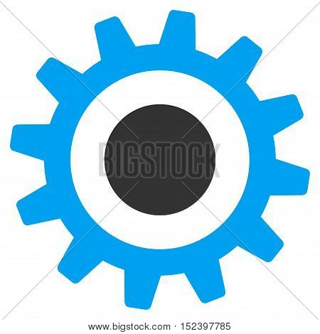 Cogwheel vector pictogram. Style is flat graphic bicolor symbol, blue and gray colors, white background.