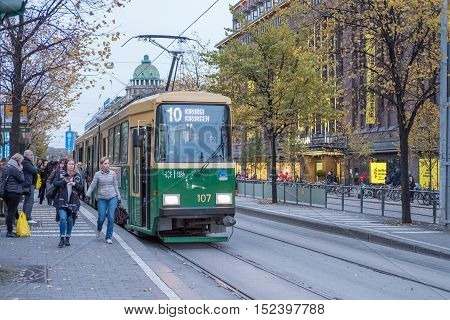 HELSINKI, FINLAND - OCTOBER 13, 2016: A streetcar named surgeon on Mannerheim street in the city center of Helsinki. Helsinki is the capital of Finland.