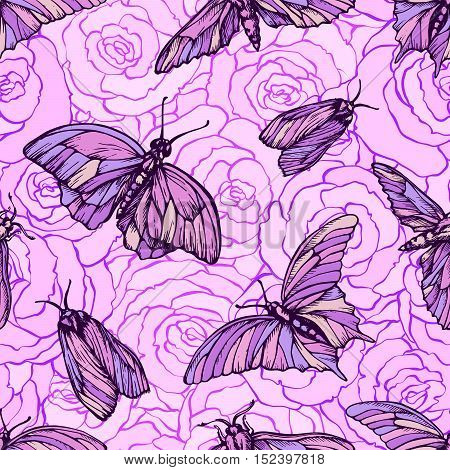 Vector seamless pattern with butterflies in soft pink colors on roses. Stylish graphic texture.