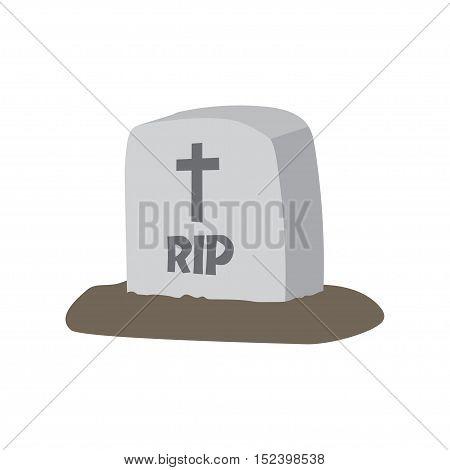 Gravestone. Vector illustrationVector illustration grey gravestone with cross. Flat tombstone icon