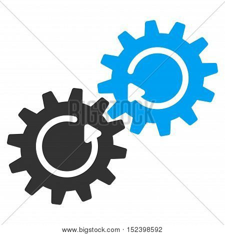 Gear Mechanism Rotation vector icon. Style is flat graphic bicolor symbol, blue and gray colors, white background.