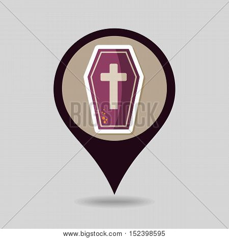Halloween Coffin mapping pin icon vector illustration eps 10