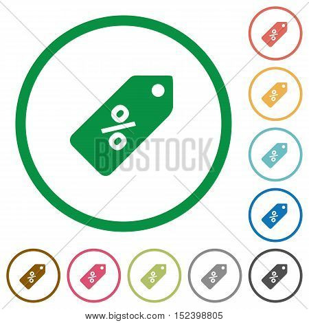 Set of discount price label color round outlined flat icons on white background