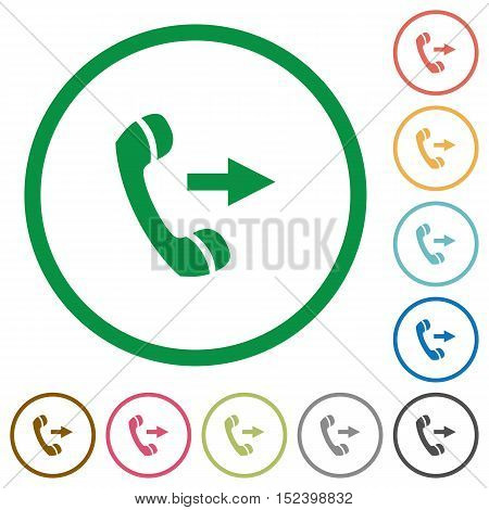 Set of outgoing call color round outlined flat icons on white background