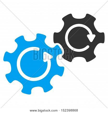 Gears Rotation vector icon. Style is flat graphic bicolor symbol, blue and gray colors, white background.