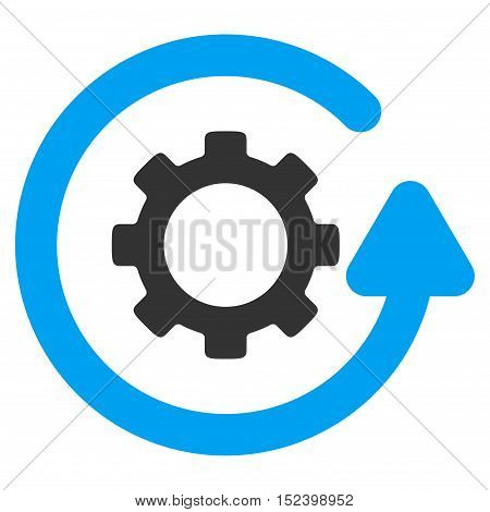 Gearwheel Rotation Direction vector pictograph. Style is flat graphic bicolor symbol, blue and gray colors, white background.