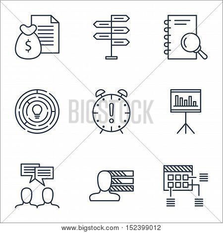 Set Of Project Management Icons On Innovation, Report And Analysis Topics. Editable Vector Illustrat