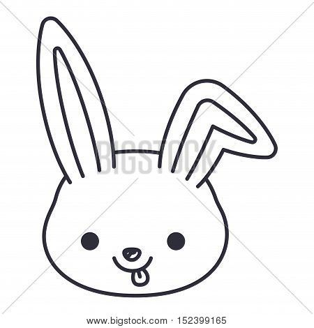 rabbit cartoon icon. Cute animal creature and little theme. Isolated design. Vector illustration
