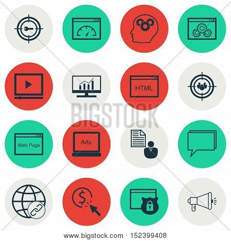 Set Of Advertising Icons On Market Research, Website And Security Topics. Editable Vector Illustrati