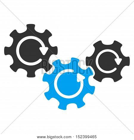 Transmission Gears Rotation vector pictogram. Style is flat graphic bicolor symbol, blue and gray colors, white background.