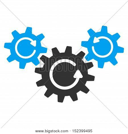 Transmission Wheels Rotation vector icon. Style is flat graphic bicolor symbol, blue and gray colors, white background.