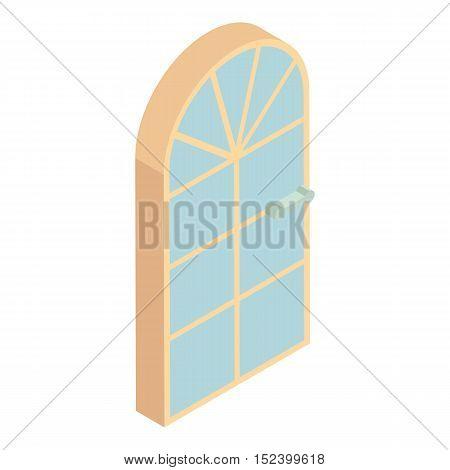 Arched front door icon. Cartoon illustration of door vector icon for web design