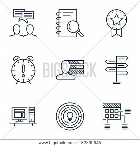 Set Of Project Management Icons On Computer, Innovation And Discussion Topics. Editable Vector Illus