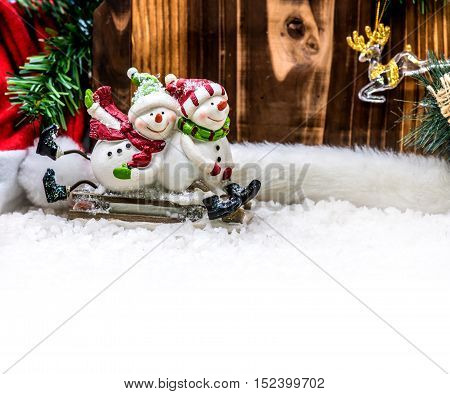 Chrismas Decoration In Winter Time