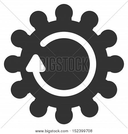 Cog Rotation vector pictogram. Style is flat graphic symbol, gray color, white background.