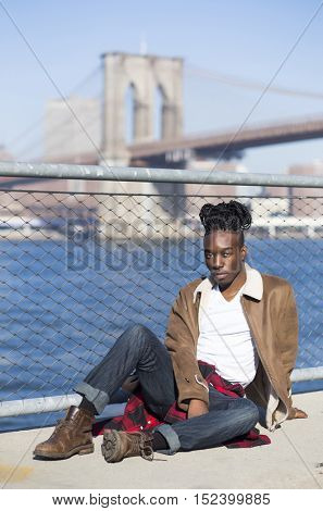 Portrait of a young afro american man in Brooklyn, New York