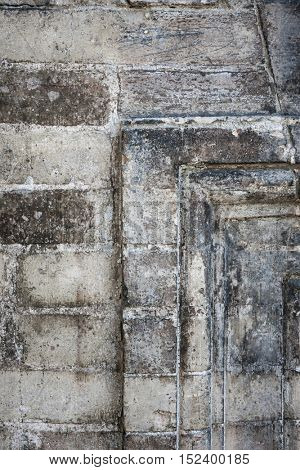 Fragment of antique building brick wall -  architectural details in Toulouse, France.